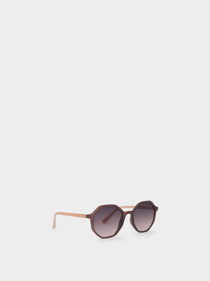Hexagonal Sunglasses, Brown, hi-res