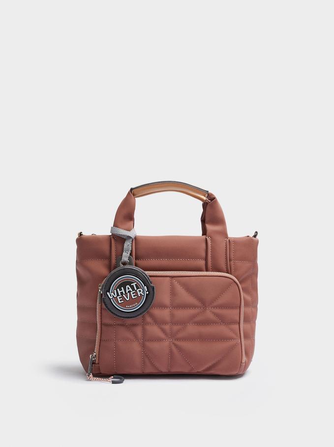 Bolso Shopper Textura Ante Con Colgante, Rosa, hi-res