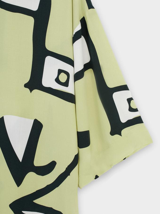 Printed Shirt Dress, Yellow, hi-res