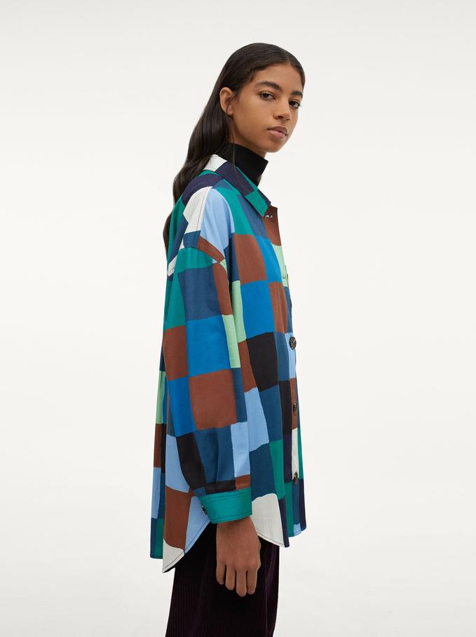 100% Cotton Shirt With Crochet Pocket, Multicolor, hi-res