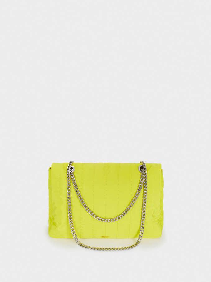 Quilted Nylon Shoulder Bag, Yellow, hi-res