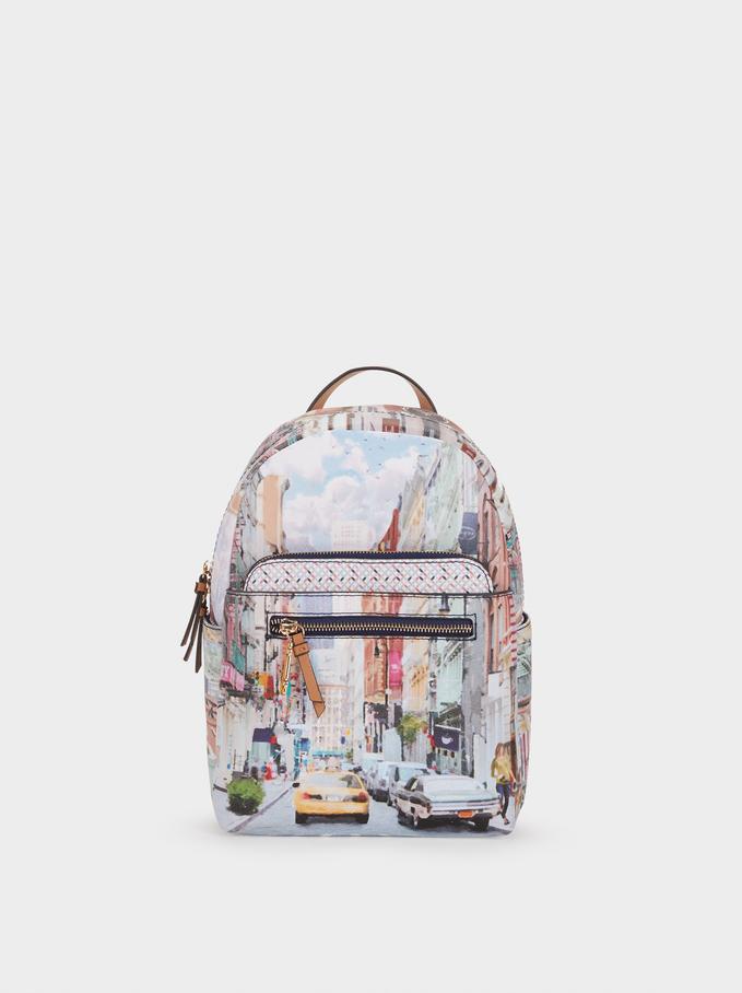 New York Print Backpack, Camel, hi-res