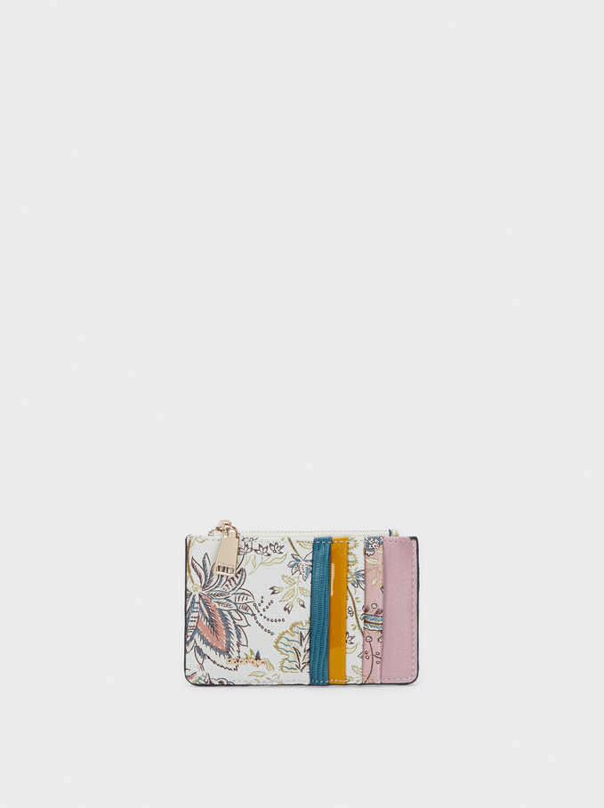 Floral Print Card Holder With Purse, Ecru, hi-res