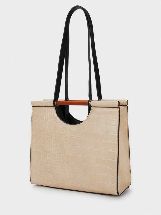 Embossed Mock Croc Tote Bag, Beige, hi-res