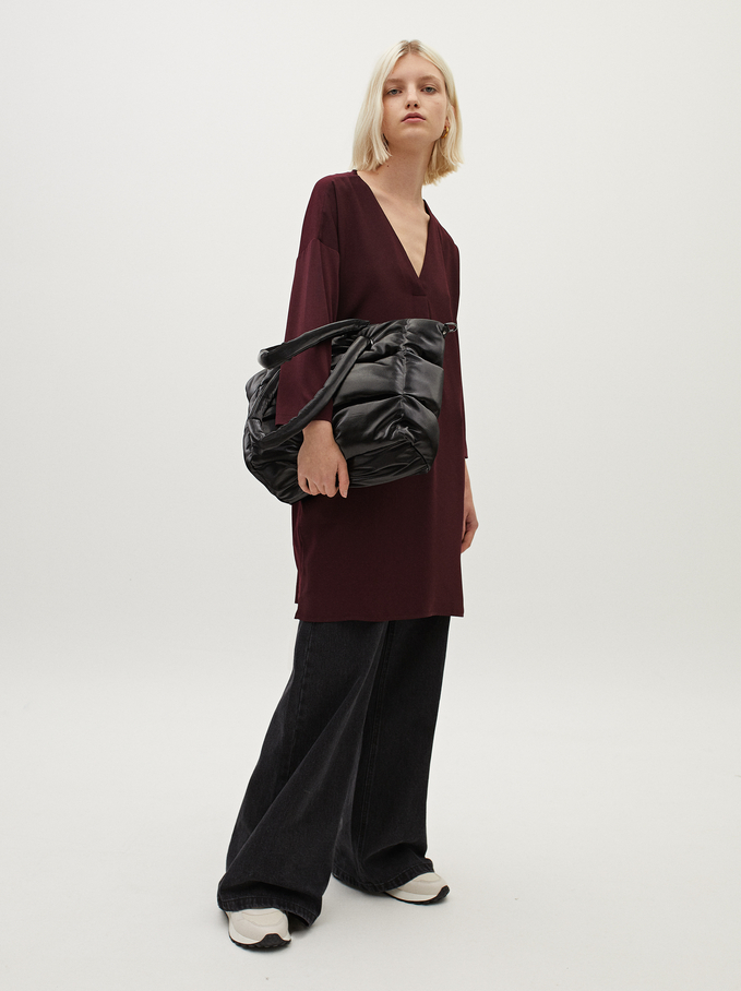 Plain V-Neck Dress, Bordeaux, hi-res