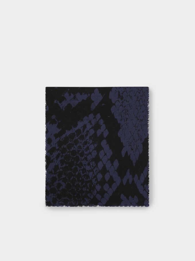Snake Print Maxi Scarf, Blue, hi-res