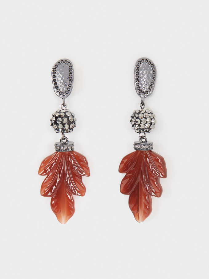 Long Earrings With Leaves And Crystals, Bordeaux, hi-res