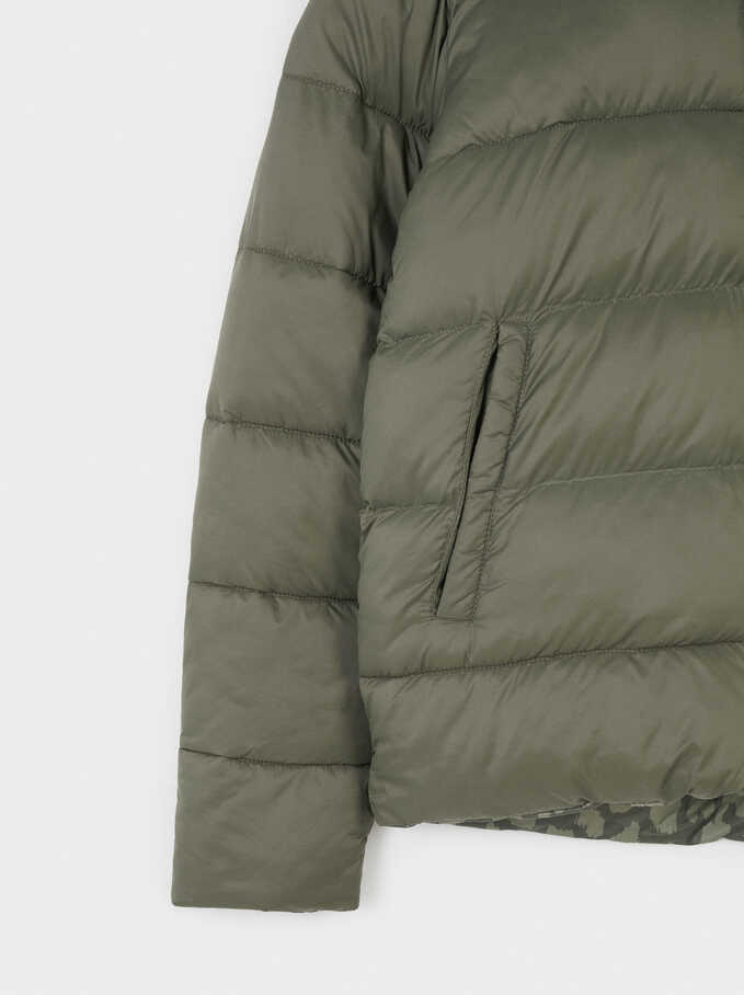 Reversible Quilted Coat With Pockets, Khaki, hi-res