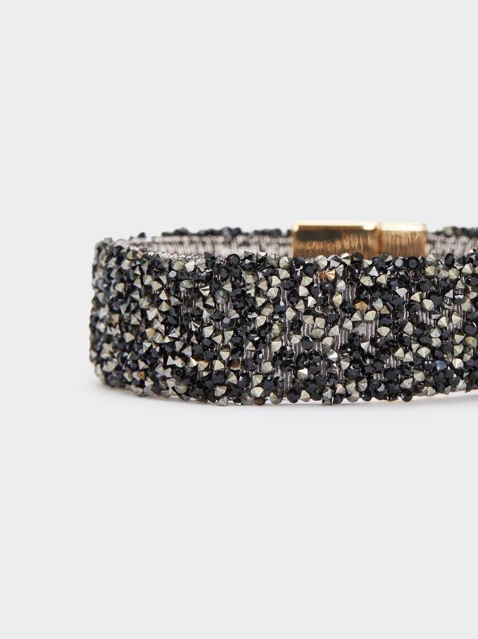 Bracelet Rigide À Perles Fantaisie, Doré, hi-res