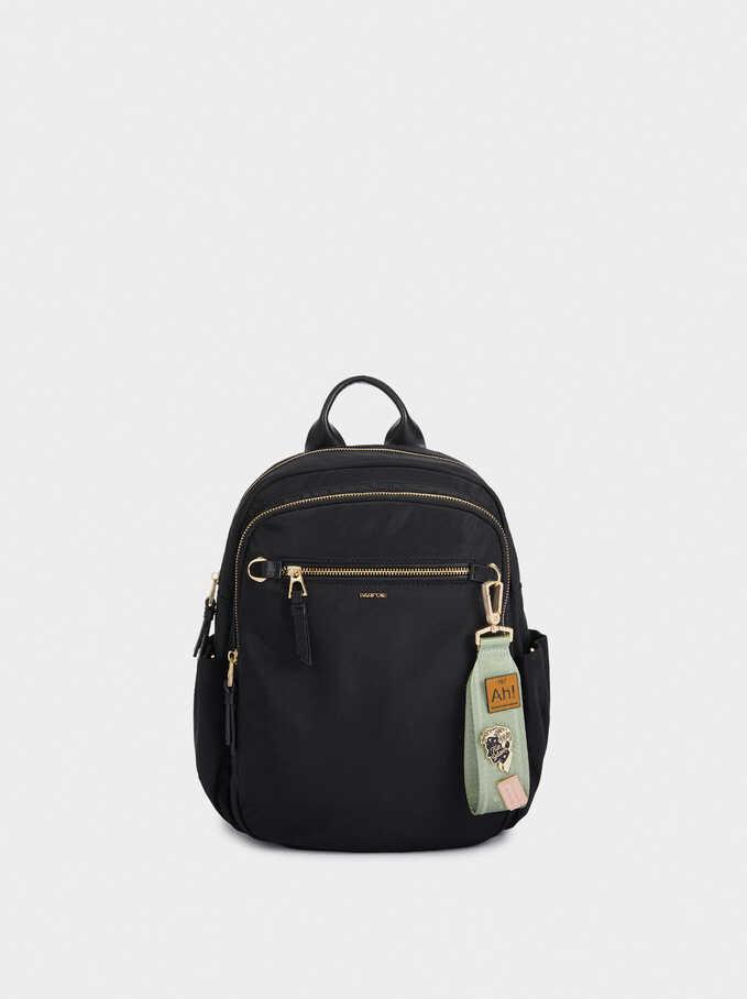 Nylon Backpack With Outside Pocket, Black, hi-res