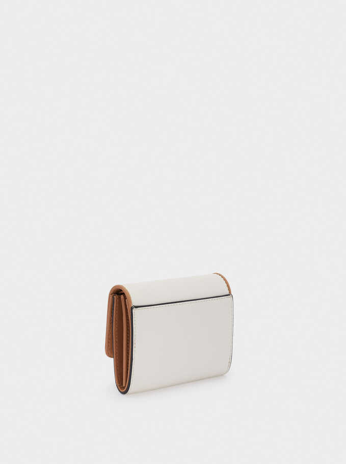 Compact Purse With Front Flap Fastening, White, hi-res