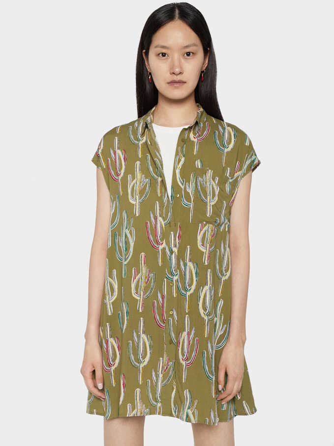 Cactus Print Shirt Dress, Khaki, hi-res