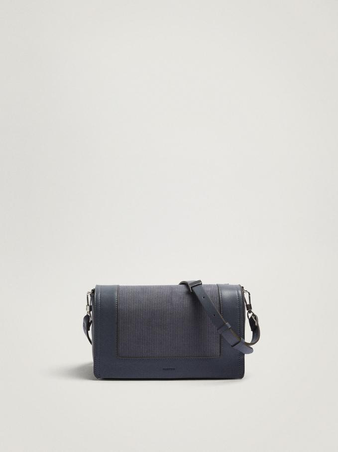 Contrasting Crossbody Bag With Front Flap Closure, Blue, hi-res