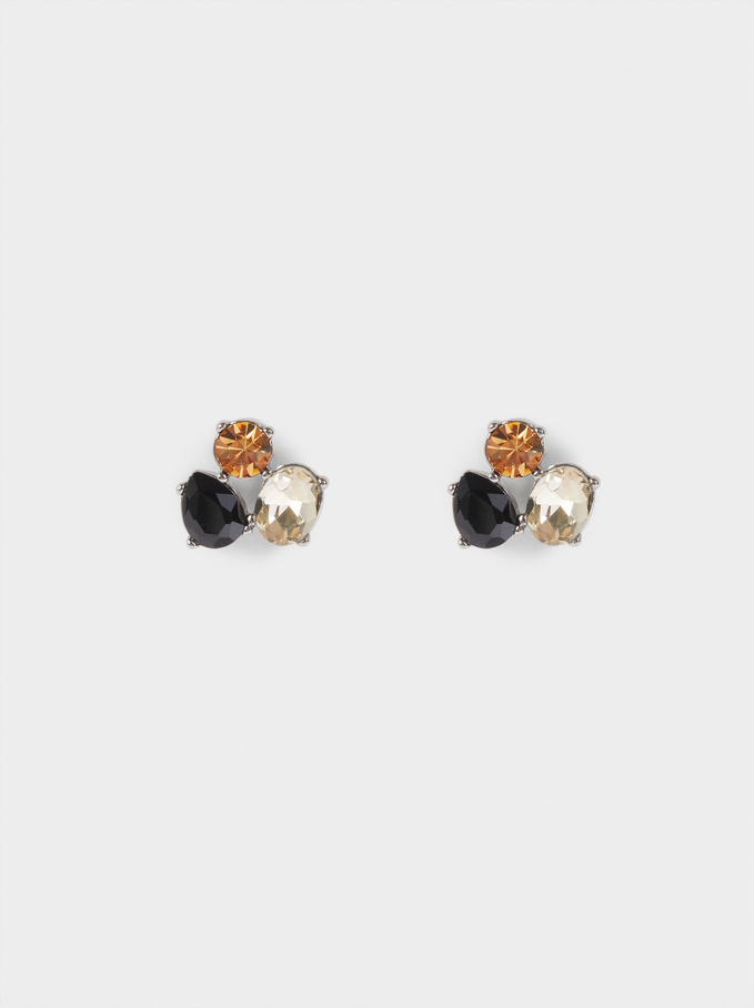 Short Earrings With Crystals, Black, hi-res