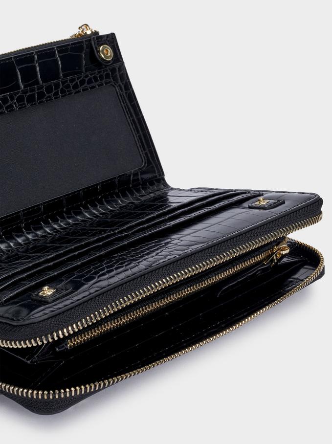 Large Embossed Animal Print Wallet, Black, hi-res