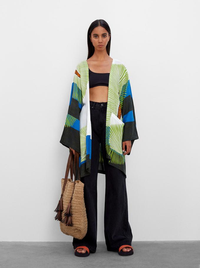 Wzorzyste Kimono 100% Modal, Zielony, hi-res