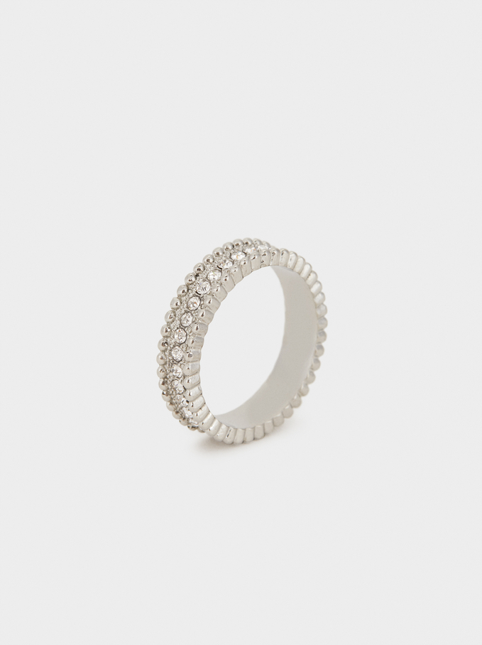 Steel Ring With Rhinestones, Silver, hi-res