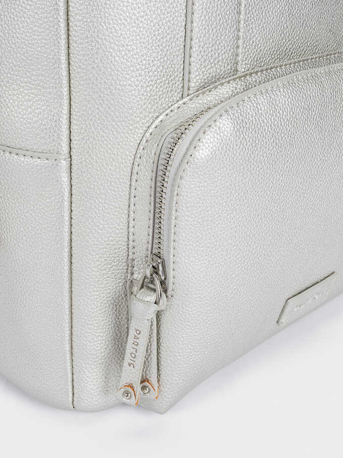 Backpack With Outer Pocket And A Charm, Silver, hi-res