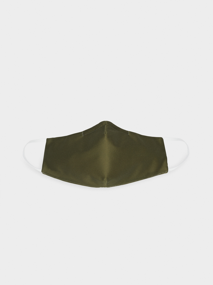Black Reusable Face Mask, Khaki, hi-res