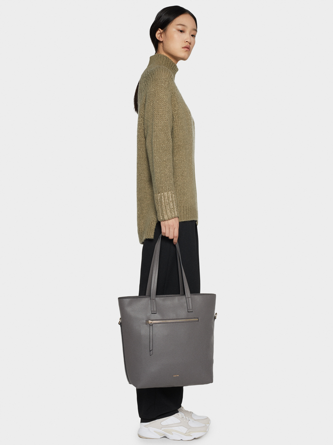 Tote Bag With Outer Pocket, Grey, hi-res