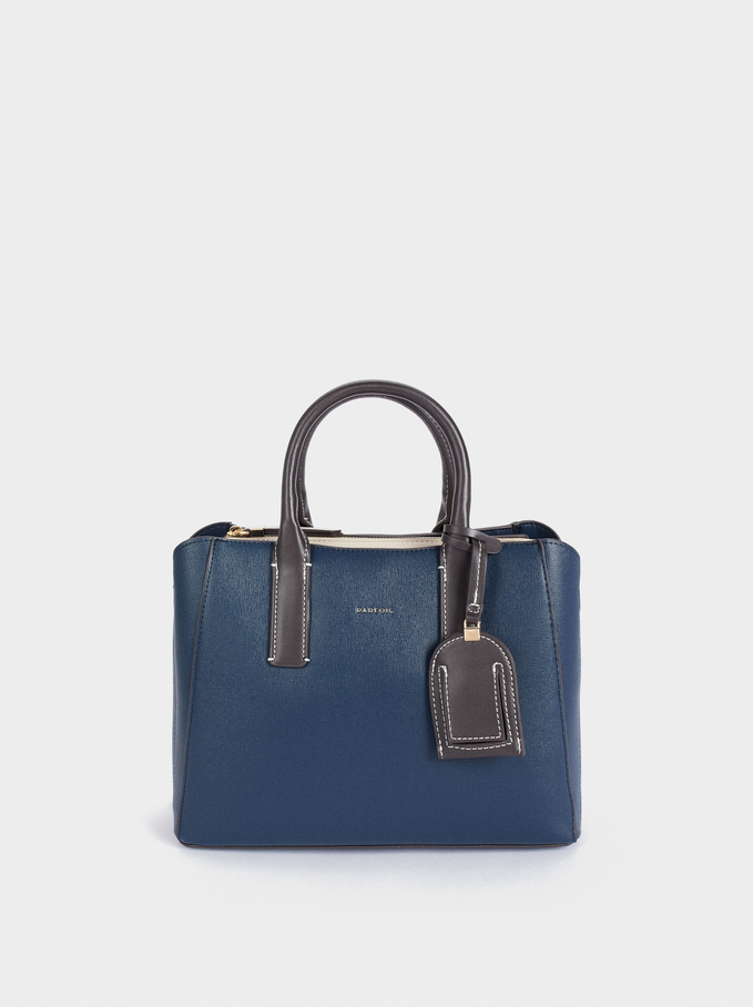 Shopper Bag With Multi-Way Handle, Navy, hi-res