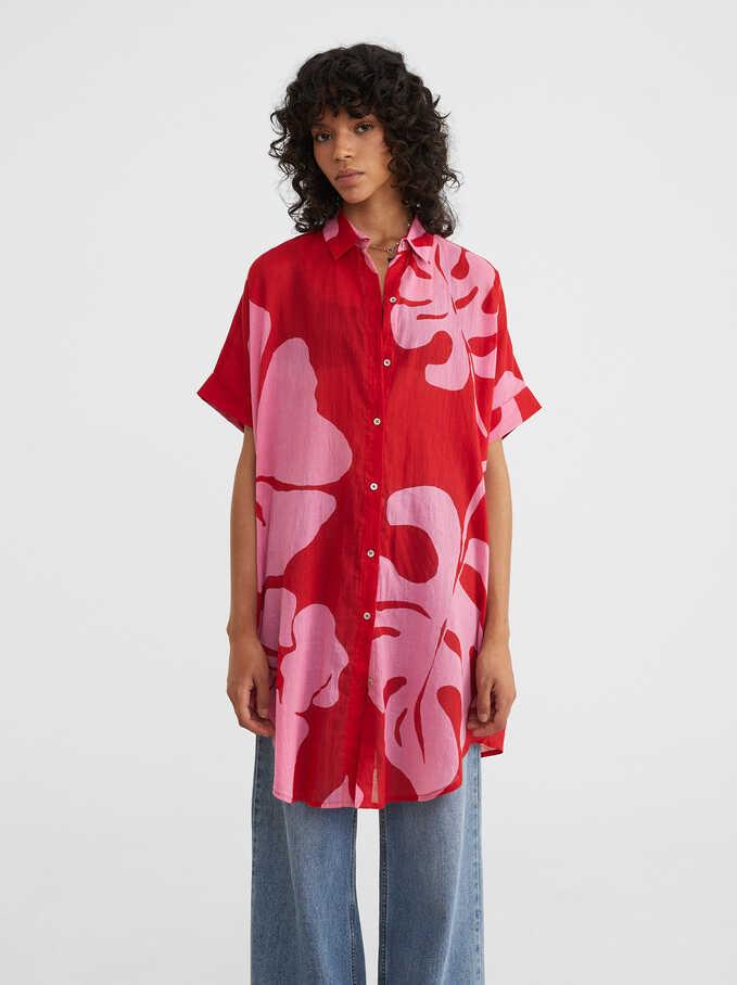 Leaf Print Dress, Red, hi-res