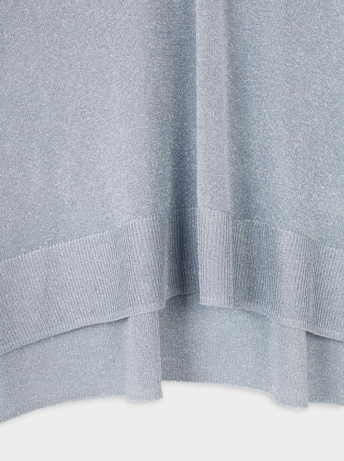 Oversize V-Neck Sweater, Grey, hi-res