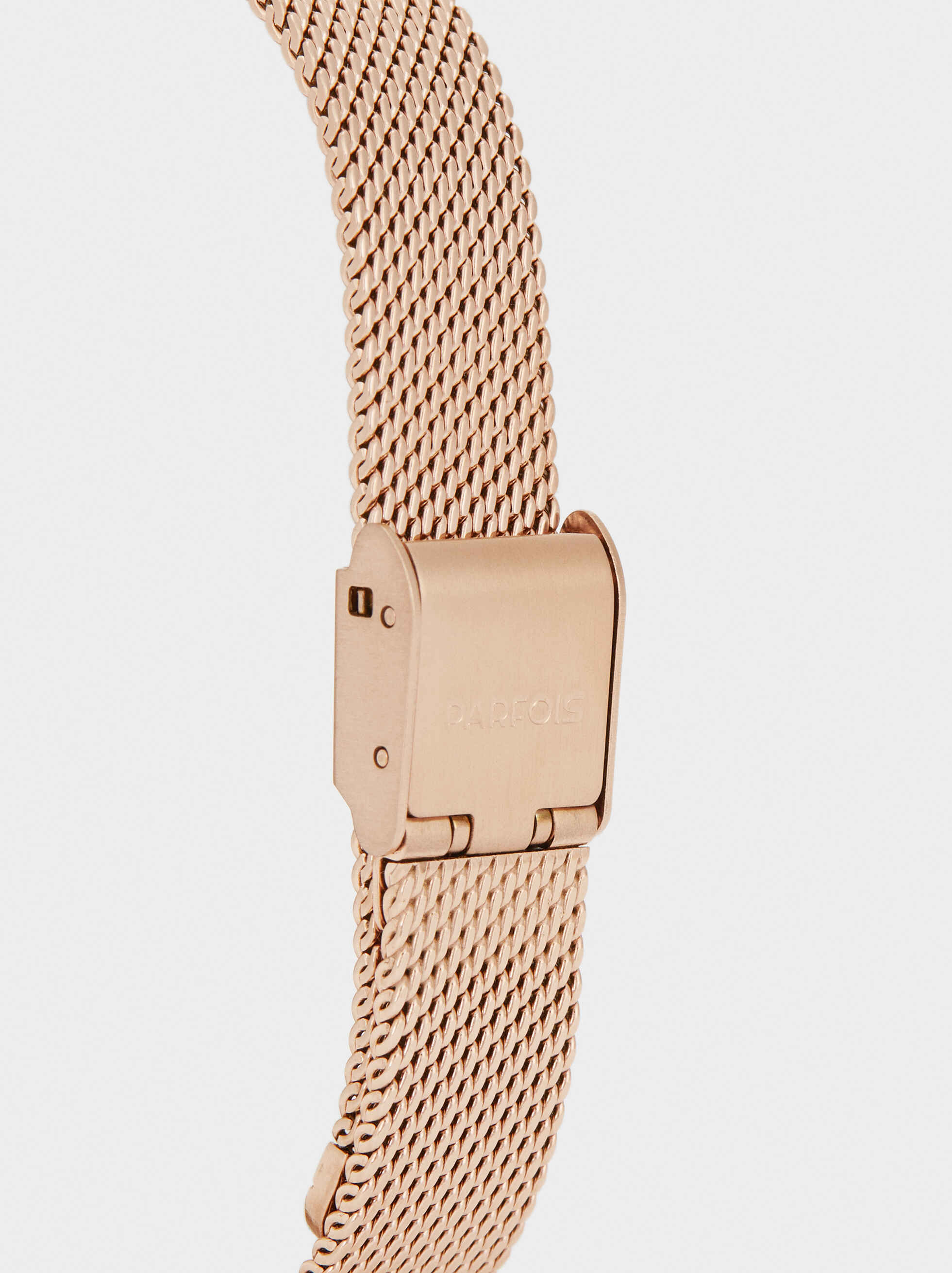 Watch With Metal Mesh Strap And Floral Detail, Orange, hi-res