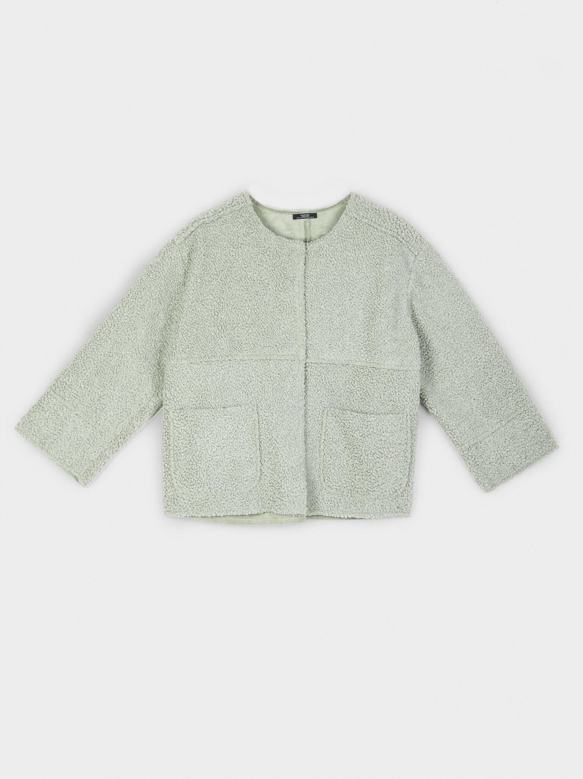 Faux Shearling Jacket, Grey, hi-res