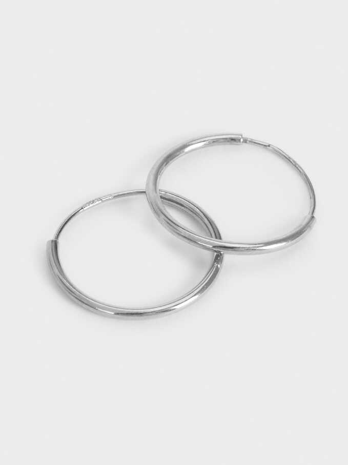 Basic 925 Silver Small Hoop Earrings, Silver, hi-res
