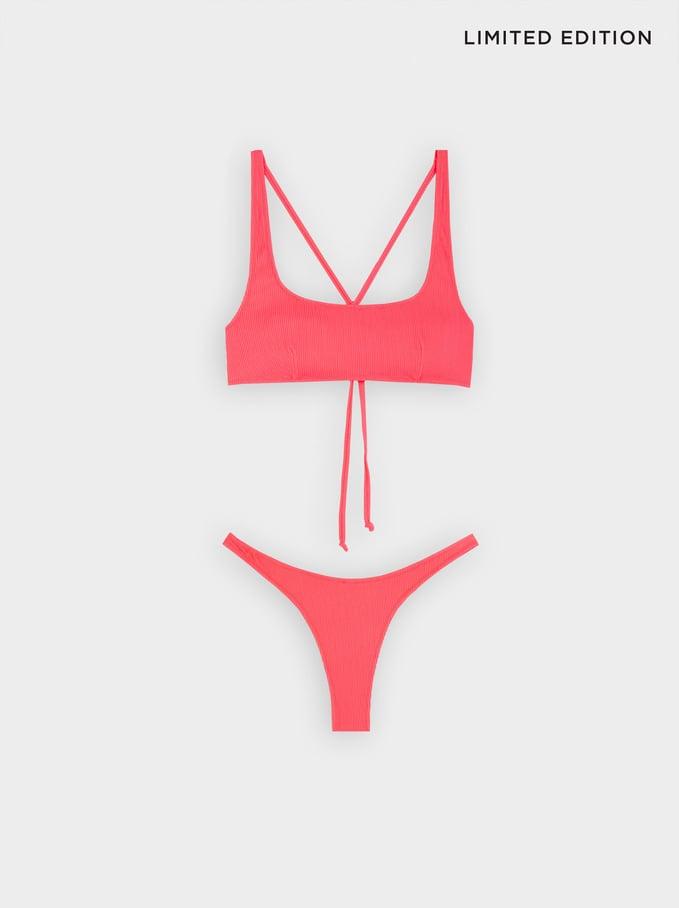 Bikini En Tissu Texturé, Orange, hi-res