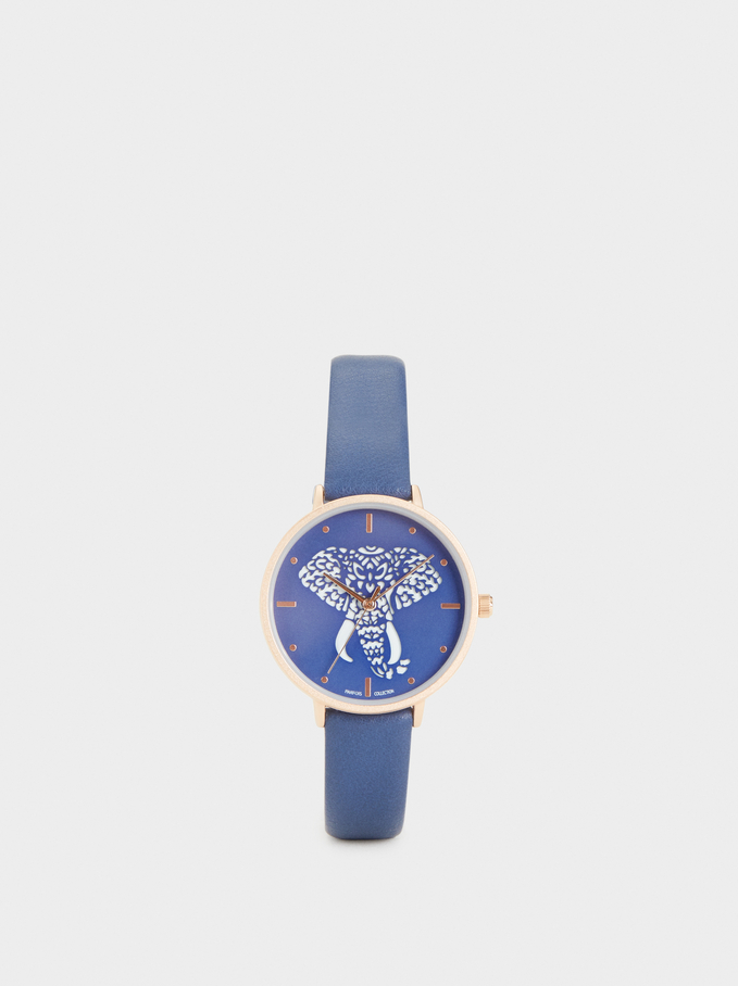 Watch With Blue Wristband And Dial, Blue, hi-res