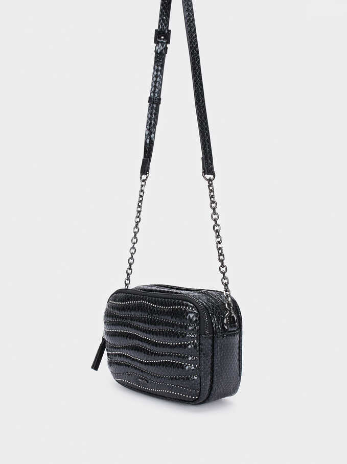 Crossbody Bag With Beads And Chain Handle, Black, hi-res