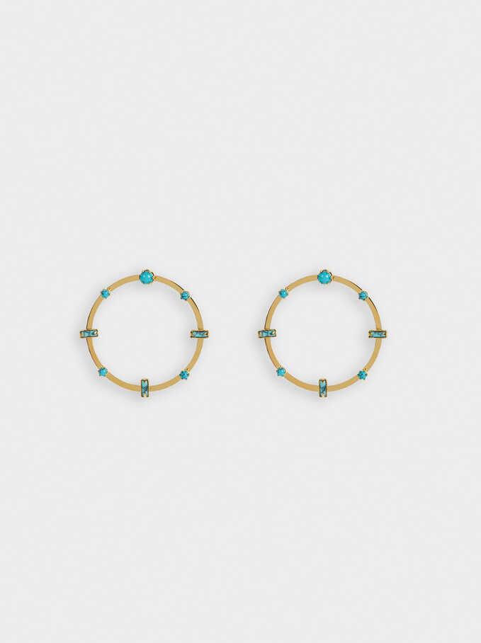 Steel Short Earrings With Stones, Beige, hi-res