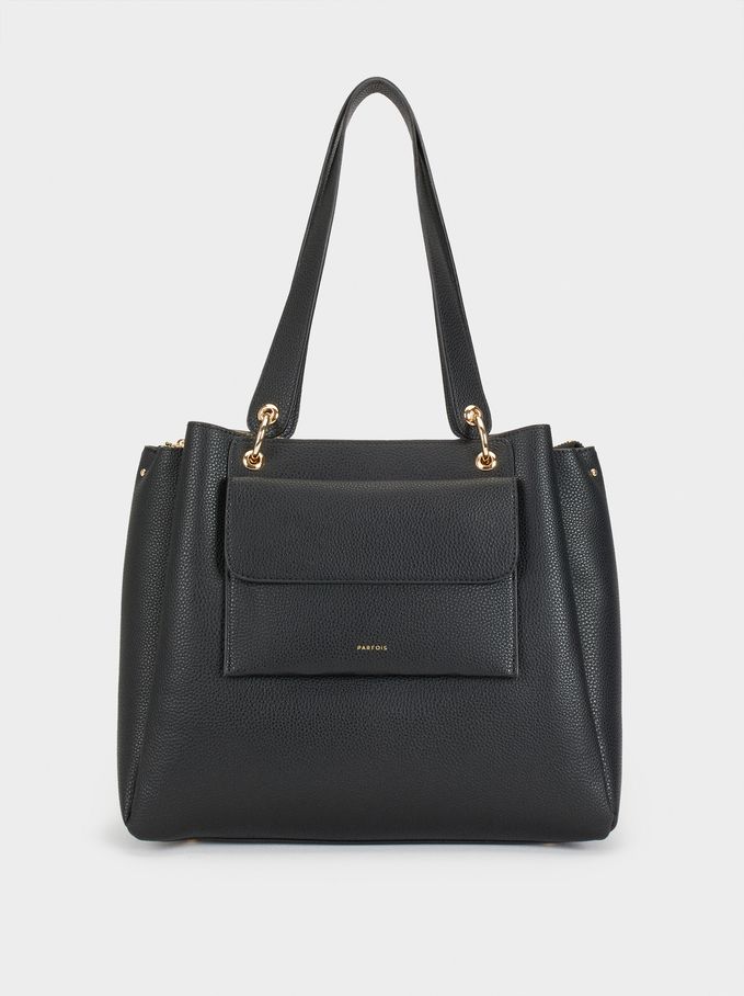 Tote Bag With Removable Outer Pocket, Black, hi-res