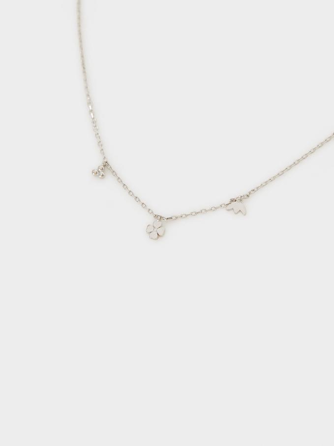 925 Silver Short Necklace With Zirconia, Silver, hi-res