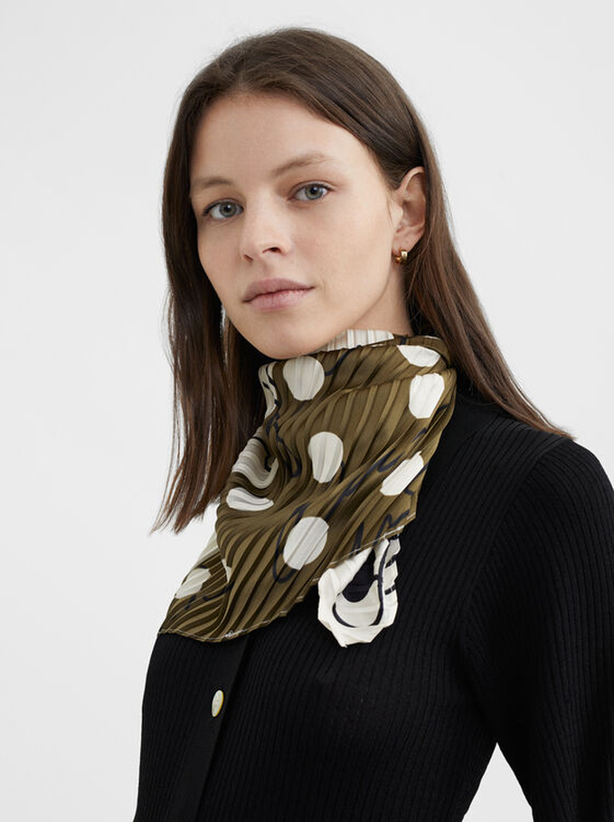 Pleated Printed Square Scarf, Khaki, hi-res