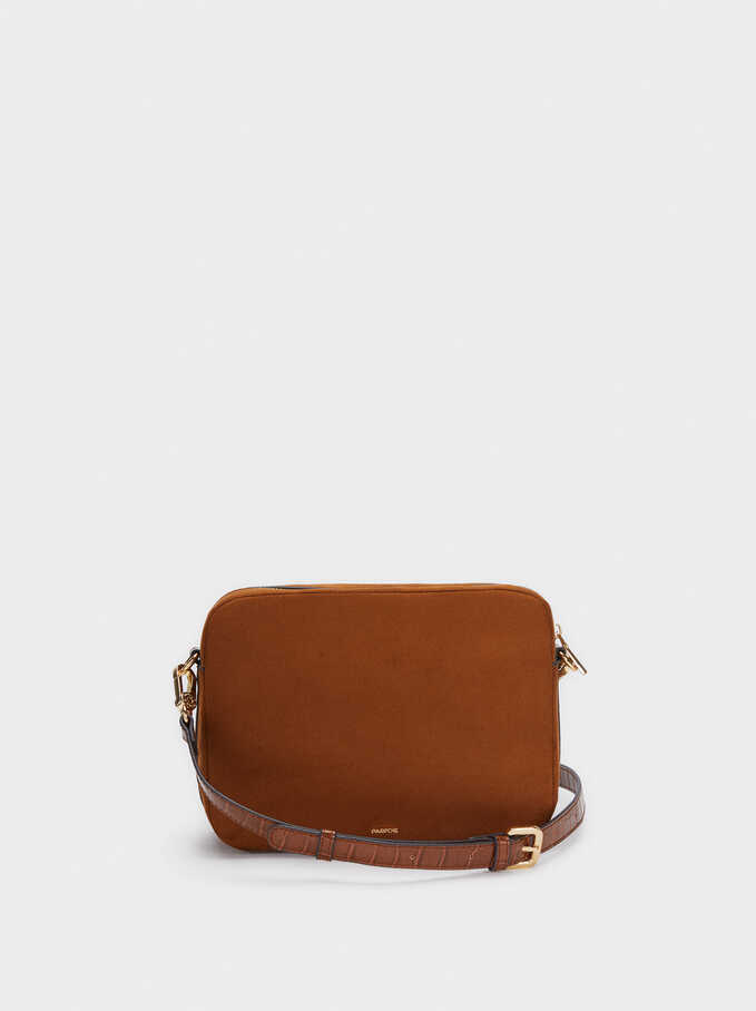 Contrast Crossbody Bag With Detachable Strap, Camel, hi-res
