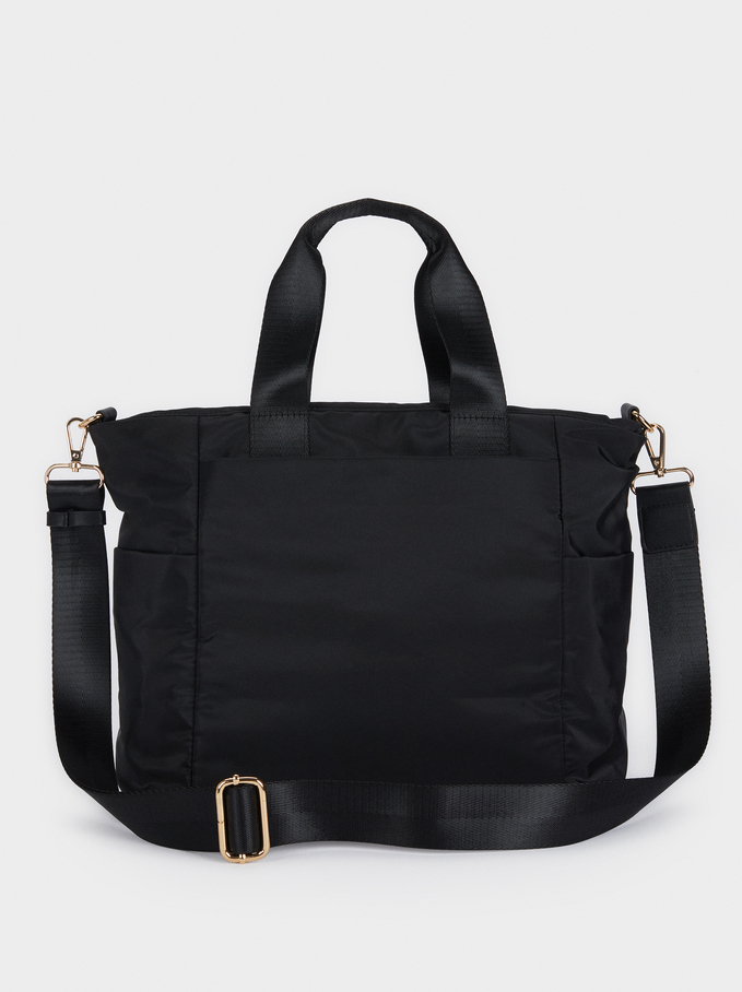 Nylon Tote Bag With Outside Pocket, Black, hi-res