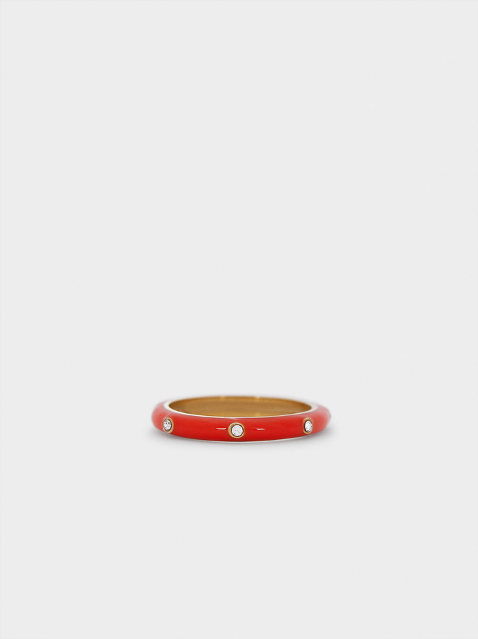 Stainless Steel Ring With Rhinestones, Coral, hi-res