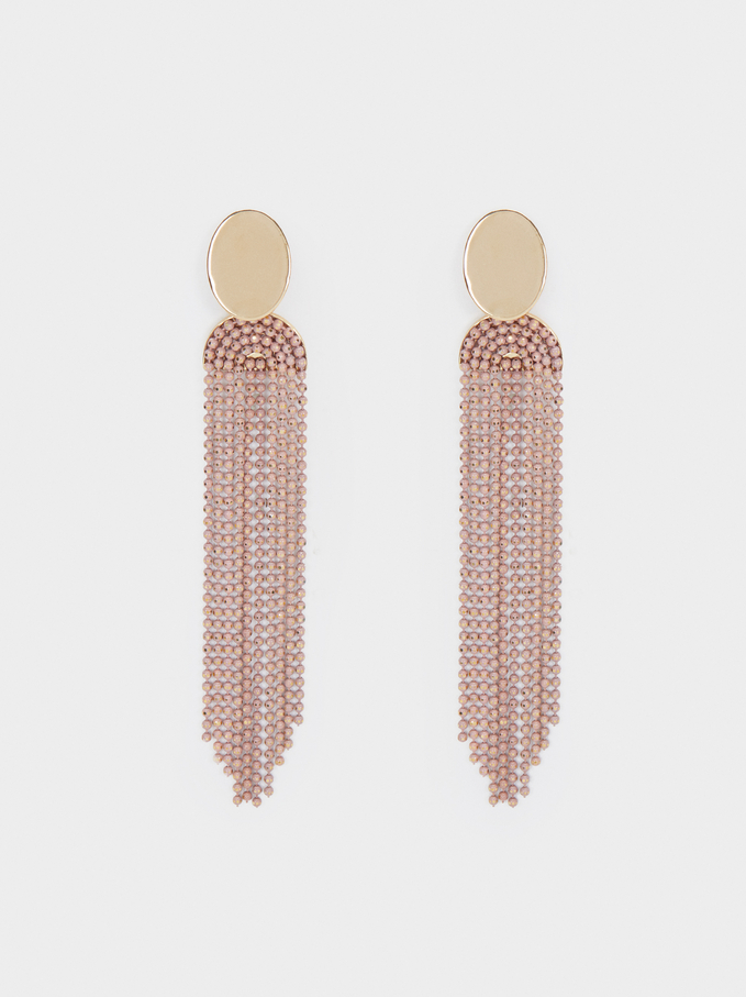 Extra-Long Earrings With Multicoloured Steel Details, Multicolor, hi-res