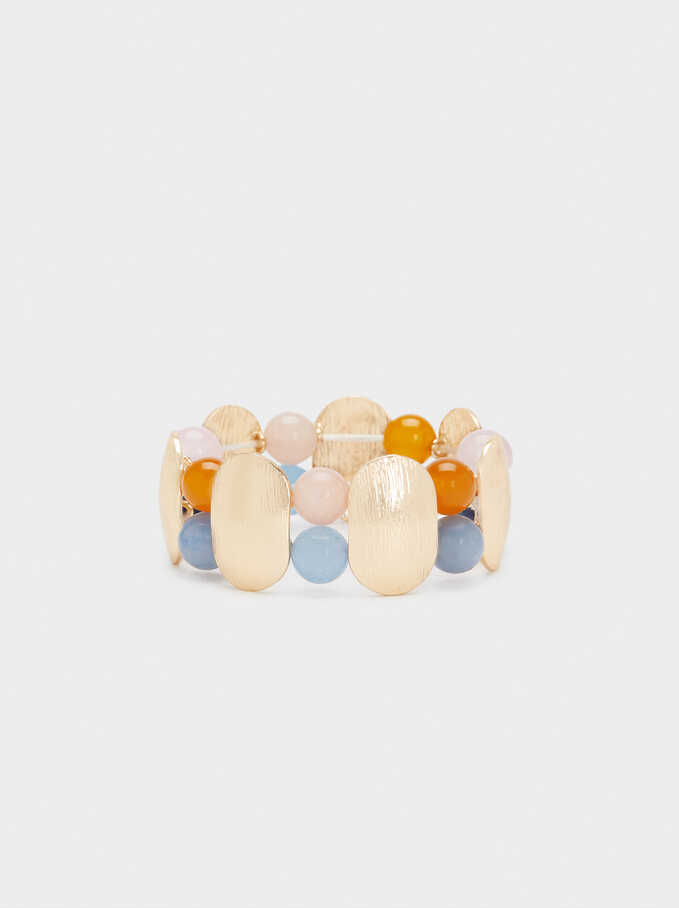 Elasticated Bracelet With Multicolour Stones, Multicolor, hi-res