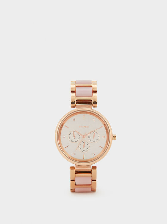 Watch With Two-Tone Strap, Orange, hi-res