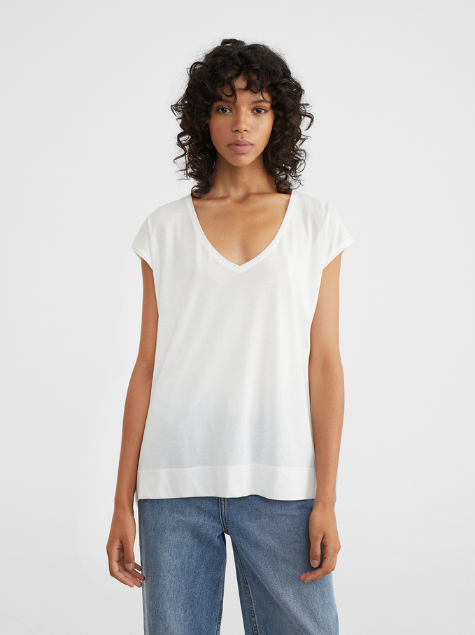 Basic V-Neck T-Shirt, White, hi-res
