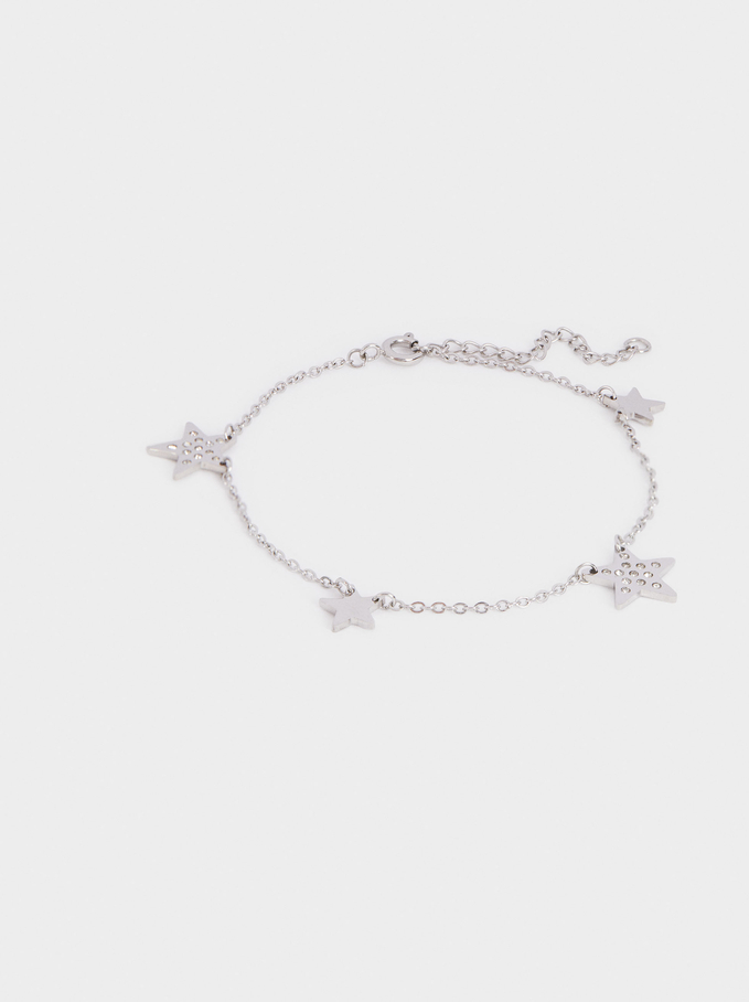Stainless Steel Bracelet With Stars And Crystals, Silver, hi-res