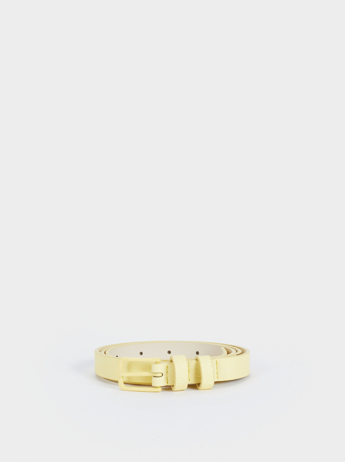 Belt With Square Buckle, Yellow, hi-res