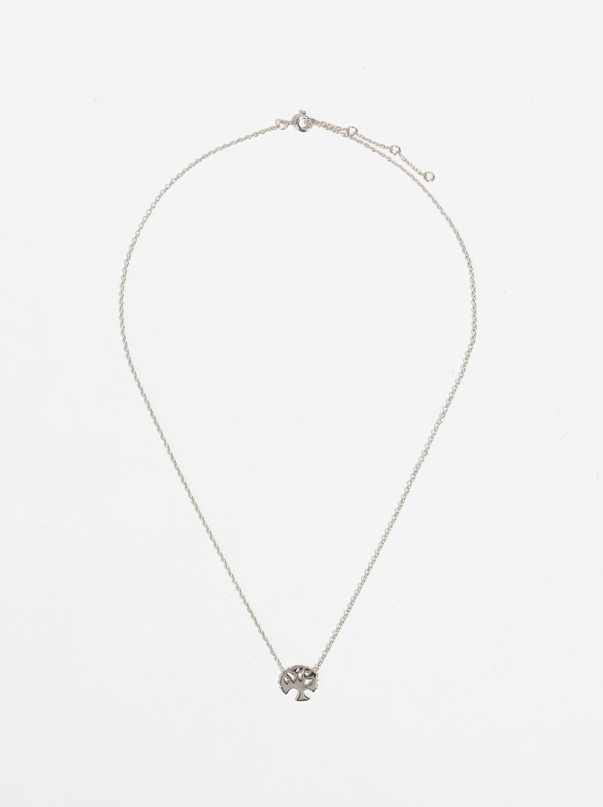 Short 925 Silver Tree Necklace, Silver, hi-res