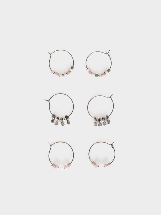 Cosmic Pink Hoop Earring Set, Multicolor, hi-res
