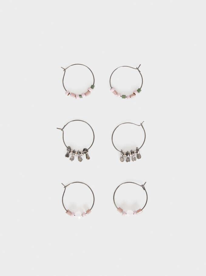 Cosmic Pink Hoop Earring Set, Multicolor, hi-res