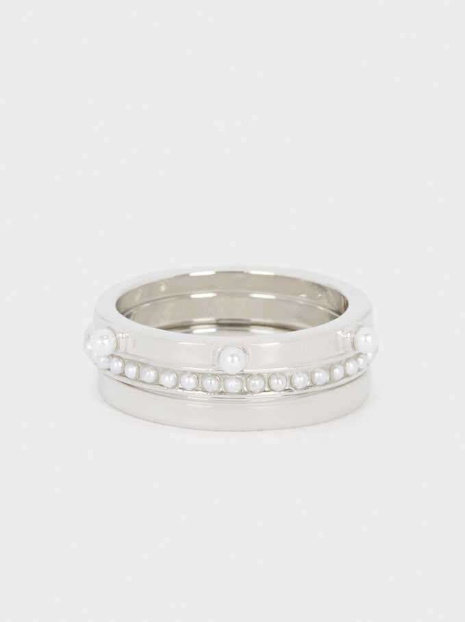 Set Of Rings With Faux Pearls, Silver, hi-res